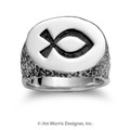 Ichthus Oval Textured Ring