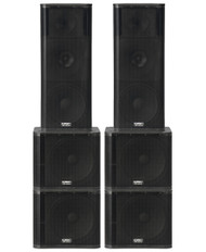 "2 x QSC KW153 1000W 15"" 3-way PA Speakers and 4 x QSC KW181 1000W 18"" Subwoofers (400 People)"
