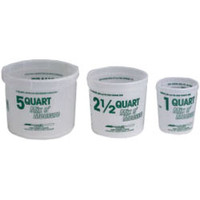 Multi Mix  containers. Mix and Measure buckets. 1 quart mix and measure buckets, 2.5 qt mix and measure buckets, 5qt mix and measure buckets.
