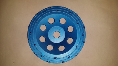 PCD Chip Cup Wheels designed with a high quality PCD providing fast production. (Excellent for removing thin mil epoxy coatings, paint, and mastic.)  Each PCD segment is on its own rail for stability to help hold the chips on the cup longer.