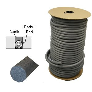 """Closed Cell Backer Rod available in multiple diameters and lengths Meets ASTM C1330, ASTM D5249 For Use with Cold Applied Sealants Closed Cell Polyethylene Foam Nonimpregnated, nonstaining, and nonbleeding Inert and does not adhere to sealants Meets all requirements of the 1990 Clean Air Act Is a """"Domestic End Product"""" as defined by the Buy American Act , Title 41 USC 10 Closed cell backer rods are designed to limit the depth of sealants, help the sealant assume an hourglass shape (which prolongs sealant life), and serve as a bond breaker to prevent bottom-side adhesion. Backer rods do not stain sealants, and are chemically inert. They are non-gassing, non-exuding, and virtually dust-free. Due to physical and chemical inert nature, backer rod is compatible with virtually all known cold sealants, including self-leveling sealants - butyl, polysulfide, acrylic polyurethane, silicone, and most other cold-applied sealants Diameter of Rod: 3/4"""" Feet per Roll: 1100ft Joint Preparation and Installation: Clean all joints. Remove any concrete form-release agents, curing compound residue, laitance, and any other foreign materials. To ensure good bond, joints must be clean and dry when the new sealant is installed. Air compressors must be equipped with traps for oil and moisture removal. Install backer rod at depth recommended by sealant manufacturer - use a blunt tool. Commonly used in expansion/contraction joints such as: Curtain Wall Partitions Bridge and Highway Construction Parking Decks Pre-Cast Assemblies Glazing Applications Panel Systems"""