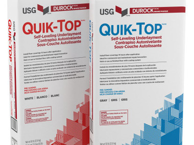 DUROCK™ BRAND QUIK-TOP™ SELF-LEVELING UNDERLAYMENT Pre-sanded, self-leveling, cementitious underlayments with the highest compressive strengths in the industry (7000 – 10,000 psi).