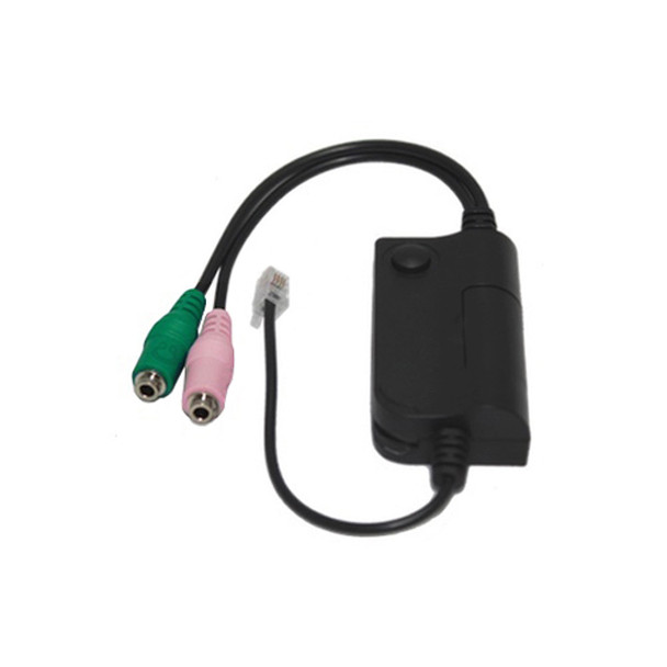 PC Headset to Universal RJ9/RJ10/RJ22 Phone Switch Adapter