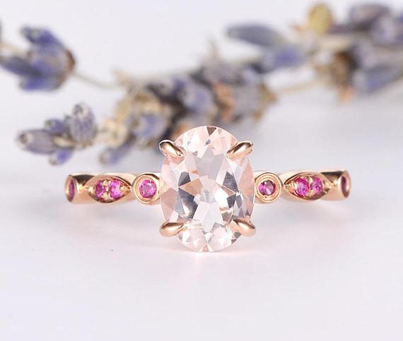 Morganite Ring Deco Antique Band Engagement Ring