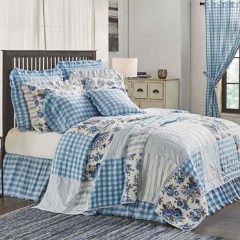 Annie Blue Floral Patch Bedding