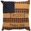 "Patriotic Patch 10"" Blessed Accent Pillow"
