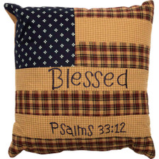 """Patriotic Patch 10"""" Blessed Accent Pillow"""