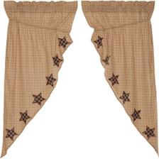 Bingham Star Applique Stars Prairie Curtain Set