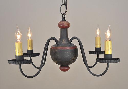 Windham chandelier shown in Black over Mustard with Red Trim