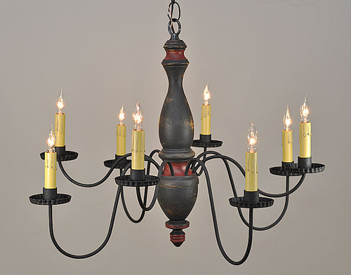 Arlington Chandelier finished in Black over Mustard w/ Barn Red Trim