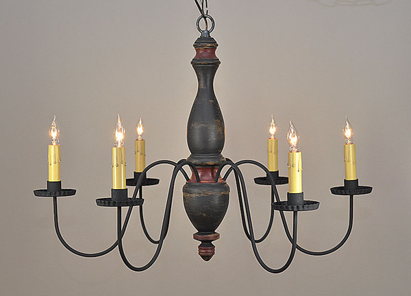 Stockbridge chandelier finished in Black over Mustard with Red Trim
