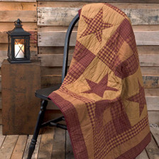 Ninepatch Star Quilted Throw Blanket