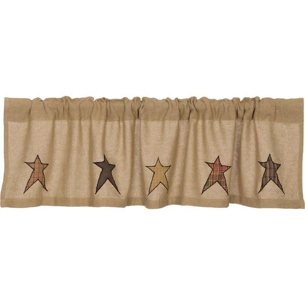 Stratton Burlap Applique Star Valance