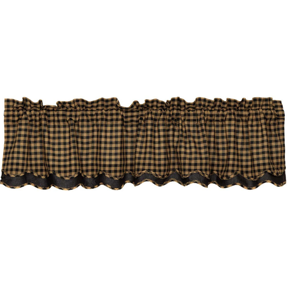 Black Check Layered Scalloped Valance By Vhc Brands