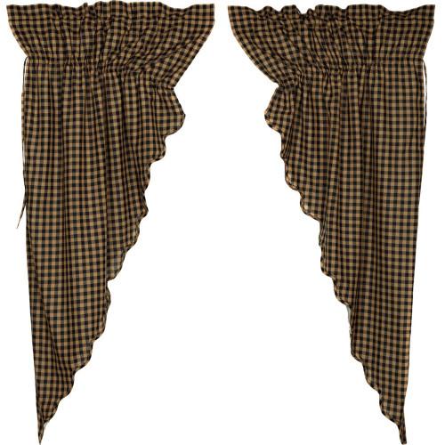 Black Check Scalloped Prairie Curtain Set