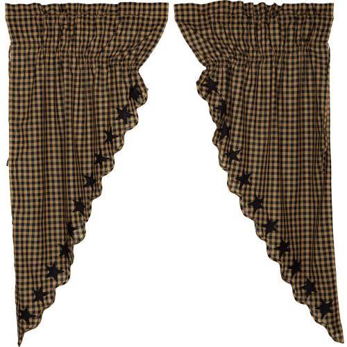 Black Star Scalloped Prairie Curtain Set