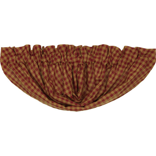 Burgundy Check Balloon Valance