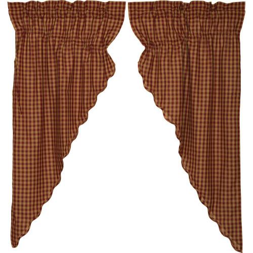 Burgundy Check Scalloped Prairie Curtain Set