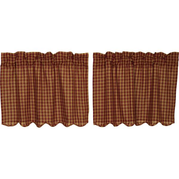 Burgundy Check Scalloped Tier Set - 24 x 36