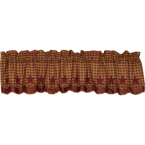 Burgundy Star Layered Scalloped Valance