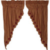 Burgundy Star Scalloped Prairie Curtain Set