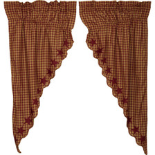Burgundy Star Scalloped Prairie Curtain Set