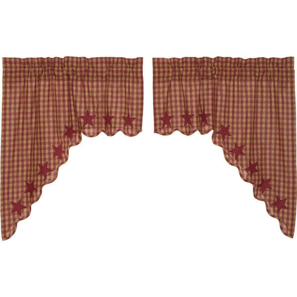Burgundy Star Scalloped Swag By Vhc Brands