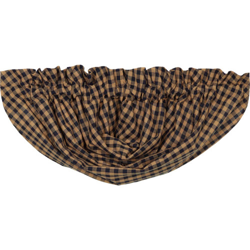 Navy Check Balloon Valance