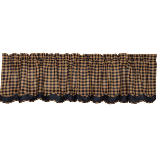 Navy Check Layered Scalloped Valance