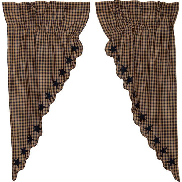 Navy Star Scalloped Prairie Curtain Set