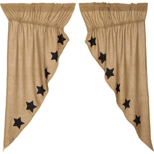 Burlap Natural Black Stencil Stars Prairie Curtain Set