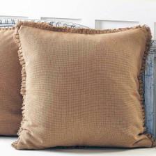 Burlap Natural Fabric Euro Sham w/ Fringed Ruffle