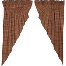 Patriotic Patch Plaid Scalloped Prairie Curtain Set