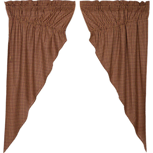 Patriotic Patch Plaid Scalloped Prairie Curtain Set