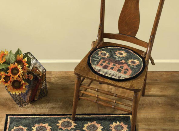 House and Sunflower Hooked Chair Pad