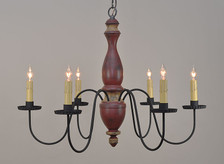 Stockbridge chandelier finished in Barn Red over Black with Mustard Trim