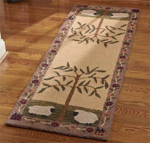 Willow and Sheep Hooked Rug Runner