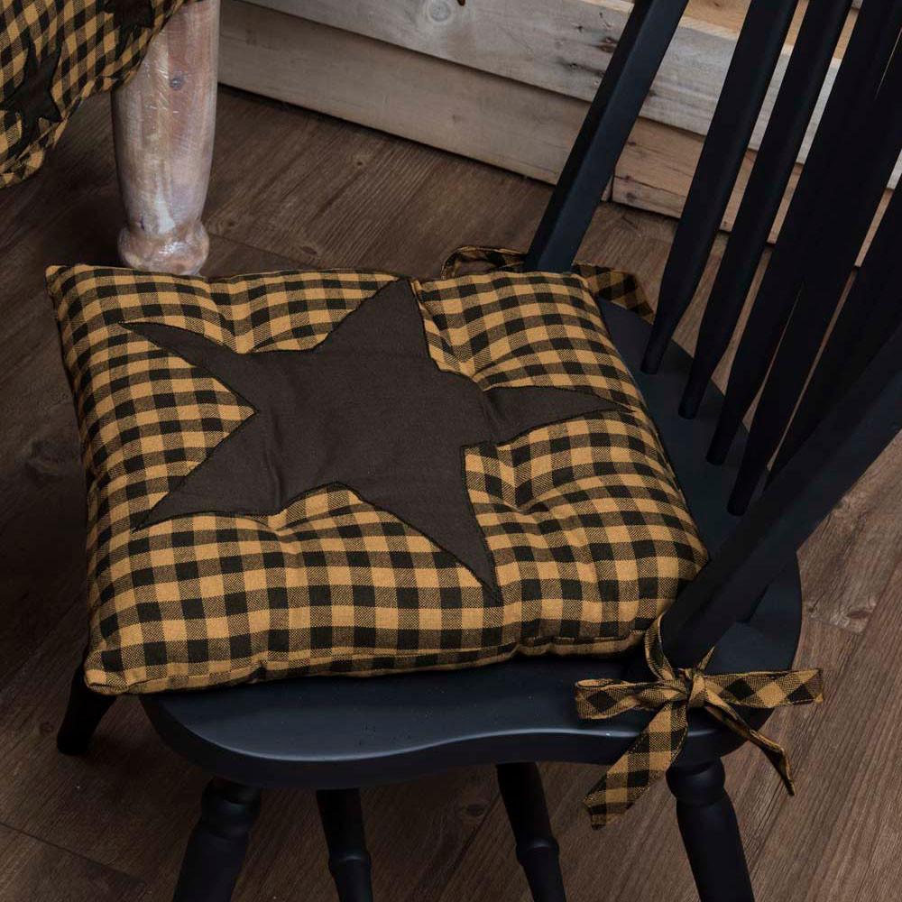 Black Star Chair Pad By Vhc Brands