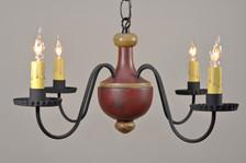 Windham chandelier shown in Red over Black with Mustard Trim
