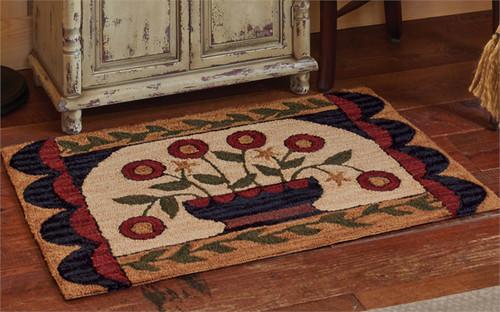 Flower Basket Hand-Hooked Rug