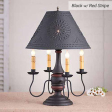 Jamestown Lamp in Hartford Black w/ Red Stripe