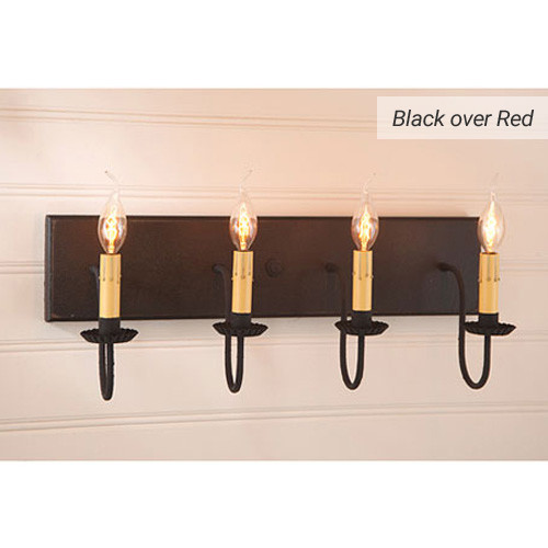 Four-arm Vanity Light in Black over Red
