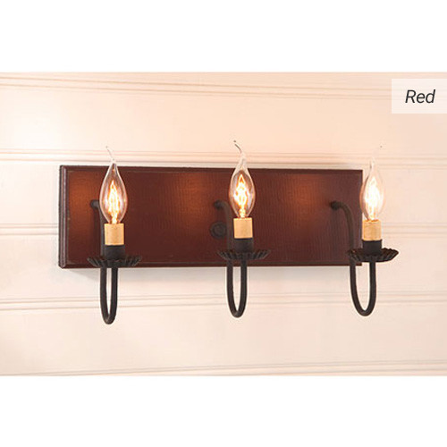 3-arm Wooden Vanity Light in Red