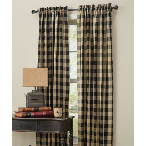 """Wicklow Lined 84"""" Panel Set in Black"""