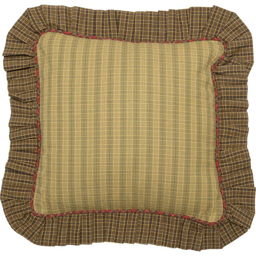 Tea Cabin Green Plaid Fabric Ruffled Pillow