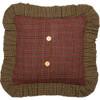 Tea Cabin Green Plaid Fabric Ruffled Pillow Reverse
