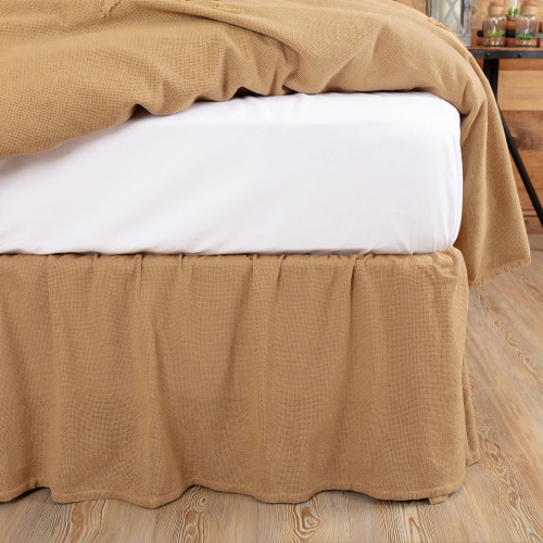 Burlap Natural Ruffled Bedskirt