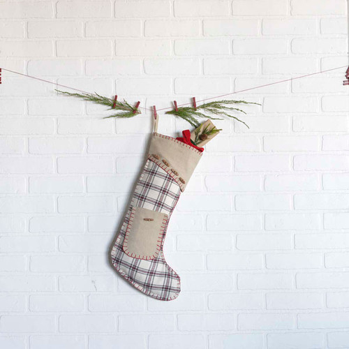 "Amory Plaid Stocking with Pocket 11"" x 20"""