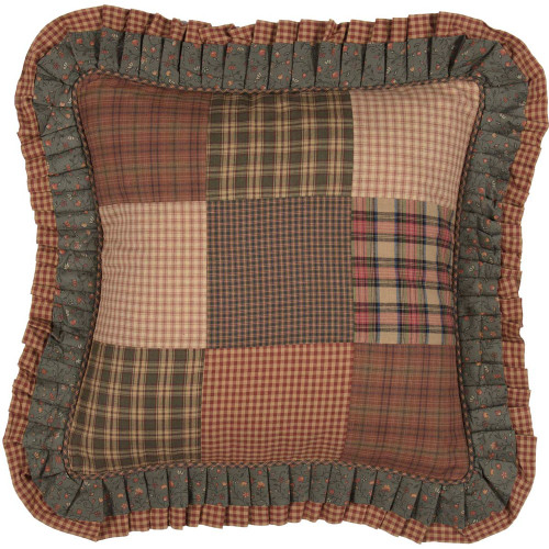 "Crosswoods Patchwork Fabric Pillow 18"" x 18"""