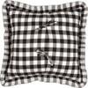 "Annie Buffalo Black Check Fabric Pillow 18"" x 18"" - Reverse"